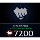 League of  Legends LOL 英雄聯盟(美服) 7200 聯盟幣 直充
